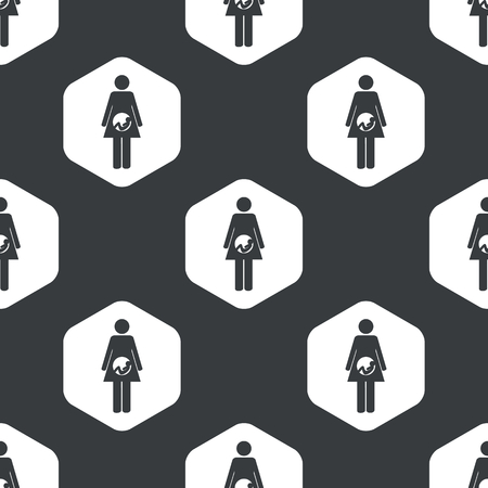 pregnant black woman: Image of pregnant woman in hexagon, repeated on black Illustration