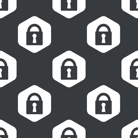 repeated: Image of closed padlock in hexagon, repeated on black