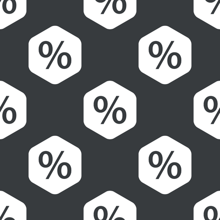 repeated: Image of percent symbol in hexagon, repeated on black Illustration