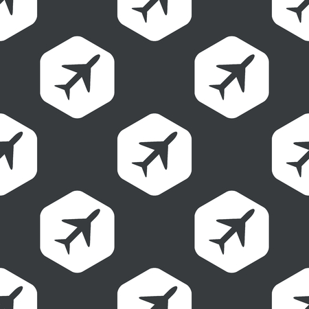 repeated: Image of plane in hexagon, repeated on black