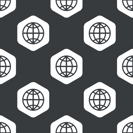 equator: Image of globe symbol in hexagon, repeated on black