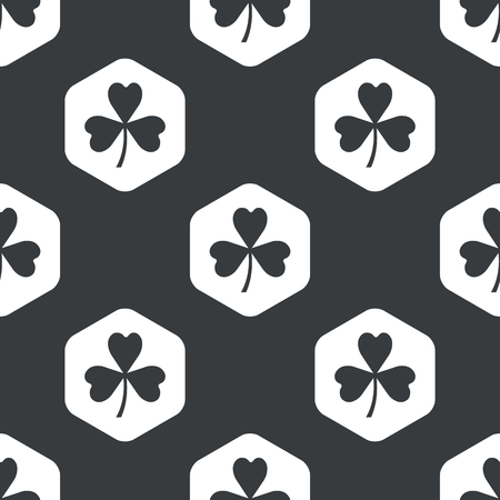 repeated: Image of clover leaf in hexagon, repeated on black Illustration