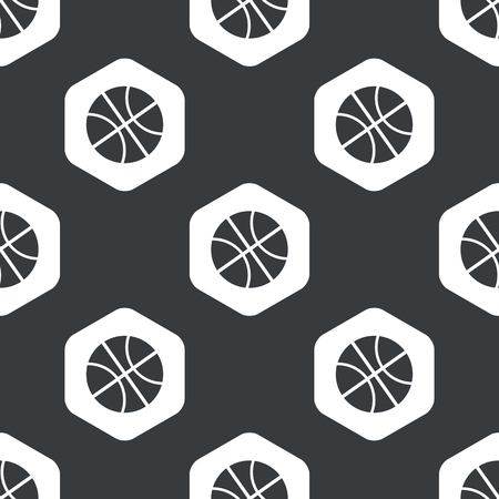 repeated: Image of basketball ball in hexagon, repeated on black