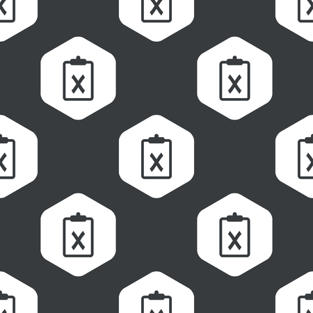 repeated: Image of clipboard with cross in hexagon, repeated on black Illustration
