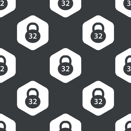 32: Image of 32 kg dumbbell in hexagon, repeated on black