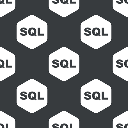 sql: Black text SQL in hexagon, repeated on black