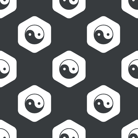 Image of ying yang symbol in hexagon, repeated on black Illustration