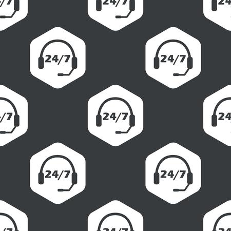 黒で繰り返されるテキスト 24 六角形、7 あたりにヘッドセットをイメージ