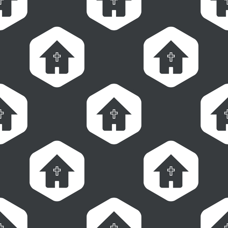 religious building: Image of house with christian cross in hexagon, repeated on black