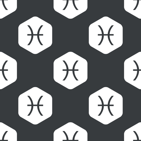 ecliptic: Image of Pisces zodiac symbol in hexagon, repeated on black