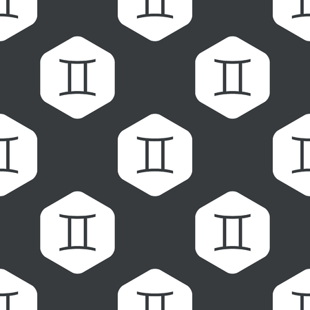 ecliptic: Image of Gemini zodiac symbol in hexagon, repeated on black Illustration