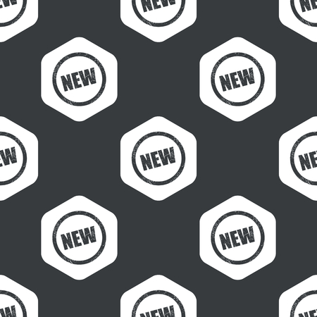 newness: Image of grunge sign with text NEW in hexagon, repeated on black Illustration