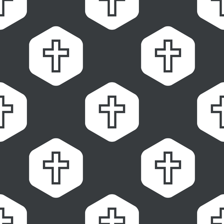 repeated: Image of cross in hexagon, repeated on black Illustration