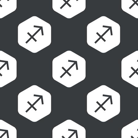 Image Of Sagittarius Zodiac Symbol In Hexagon Repeated On Black