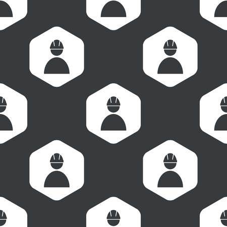 measures: Image of builder in helmet in hexagon, repeated on black Illustration