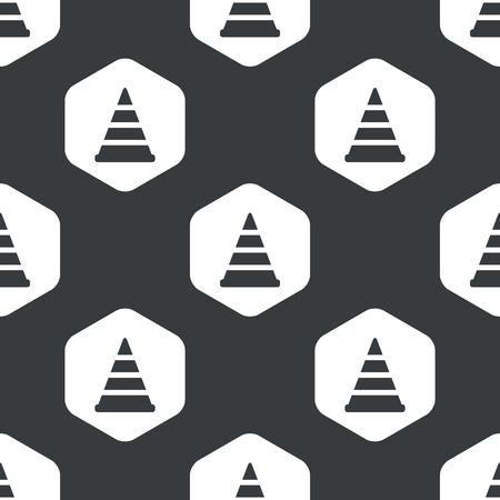 diversion: Image of traffic cone in hexagon, repeated on black