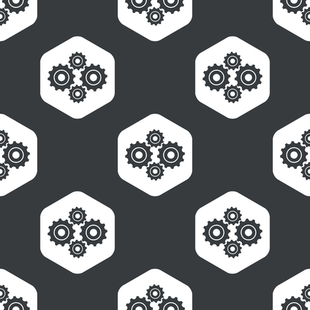 repeated: Image of four cogs in hexagon, repeated on black