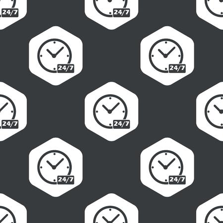黒で繰り返されるテキスト 24 六角形、7 あたりで時計のイメージ