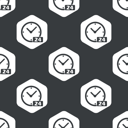 twenty four hour: Image of clock with text 24 in hexagon, repeated on black