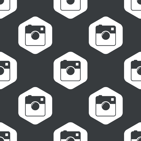 microblog: Image of square camera in hexagon, repeated on black