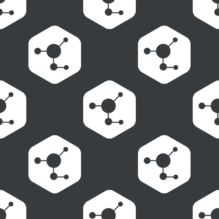 white matter: Image of molecule in hexagon, repeated on black