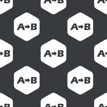 consequence: Letters A, B and arrow in hexagon, repeated on black Illustration