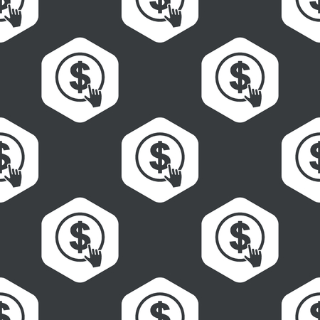 clicking: Image of hand clicking on dollar in hexagon, repeated on black Illustration