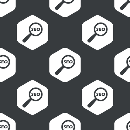 nuance: Image of text SEO under loupe in hexagon, repeated on black Illustration