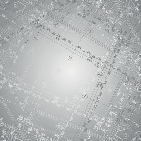 Arrière-plan avec gradient gris et plusieurs plans d'architecture Banque d'images - 43303142