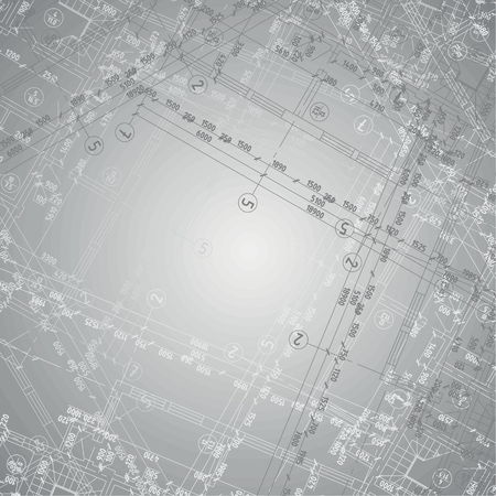 Background with grey gradient and several architecture blueprints