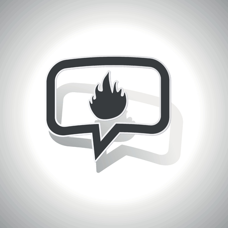conflagration: Curved chat bubble with flame and shadow, on white Illustration
