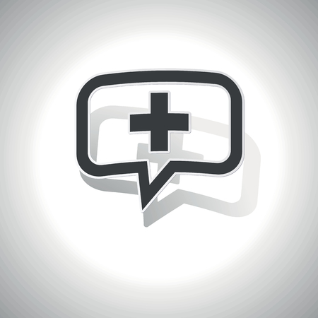 plus symbol: Curved chat bubble with plus symbol and shadow, on white