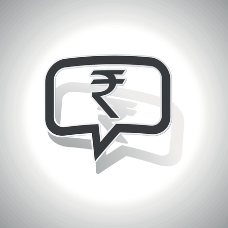 Grey Indian Rupee Symbol In Chat Bubble On White Gradient