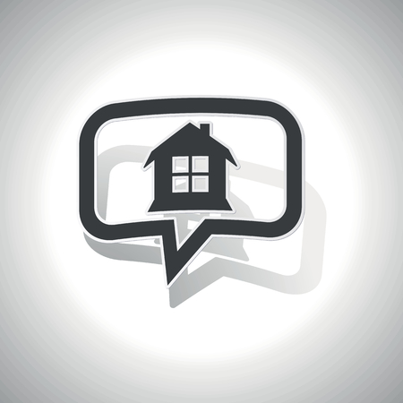 housetop: Curved chat bubble with house with window and shadow, on white Illustration