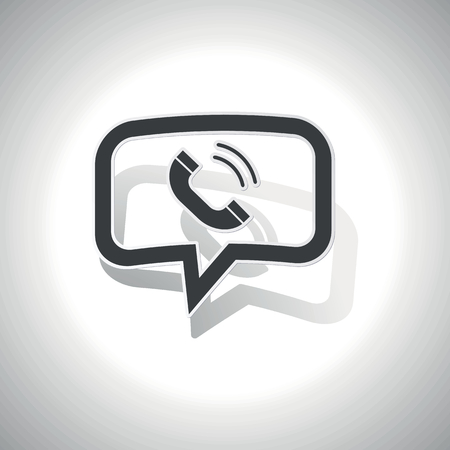 ringing phone: Curved chat bubble with ringing phone receiver and shadow, on white Illustration
