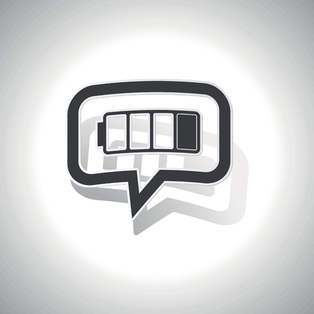 low battery: Curved chat bubble with low battery and shadow, on white Illustration