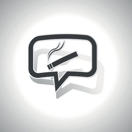 smoking place: Curved chat bubble with burning cigarette and shadow, on white