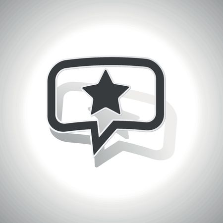 ideogram: Curved chat bubble with star and shadow, on white