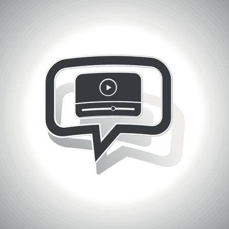 chat window: Curved chat bubble with mediaplayer window and shadow, on white Illustration
