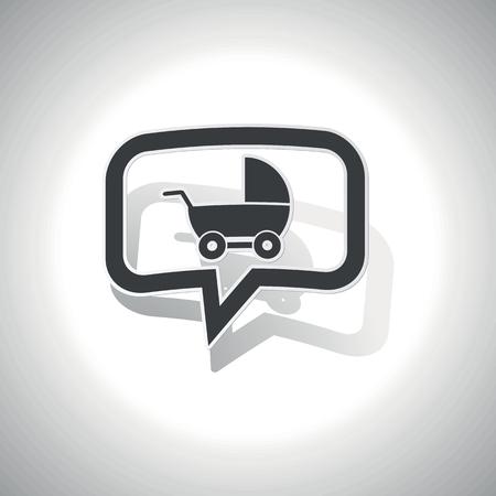 perambulator: Curvo bolla chiacchierata con carrozzina e ombra, su bianco Vettoriali