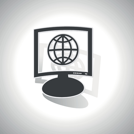 parallel world: Curved monitor with image of globe symbol and shadow, on white