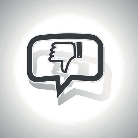 disapproval: Curved chat bubble with dislike symbol and shadow, on white Illustration