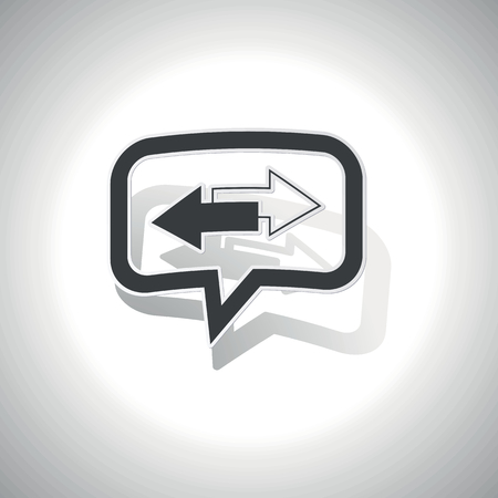 opposite: Curved chat bubble with opposite arrows and shadow, on white