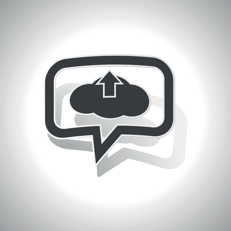 chat up: Curved chat bubble with cloud and up arrow and shadow, on white