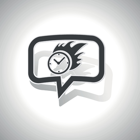 bounds: Curved chat bubble with burning clock and shadow, on white