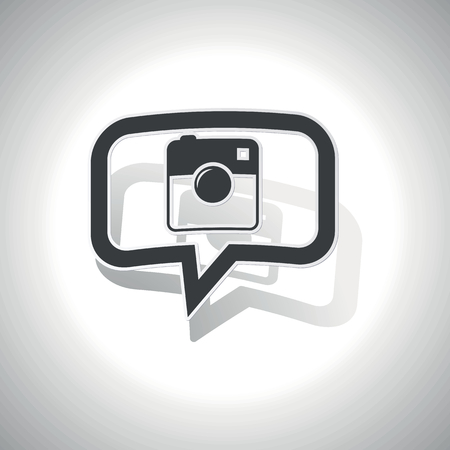 microblog: Curved chat bubble with square camera and shadow, on white