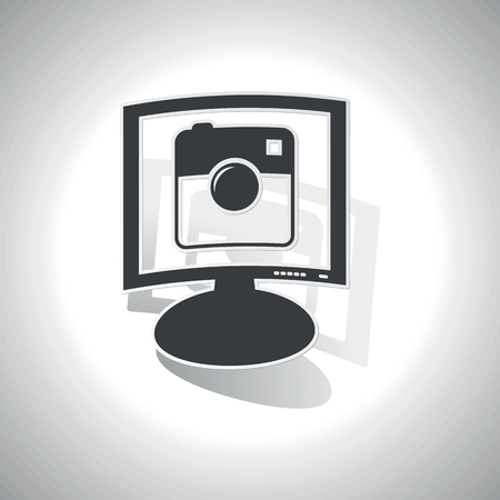 microblog: Curved monitor with image of square camera and shadow, on white Illustration