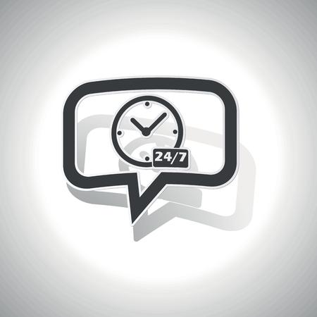 時計、本文 24 7 あたりで雑談泡を曲線と影、白地  イラスト・ベクター素材
