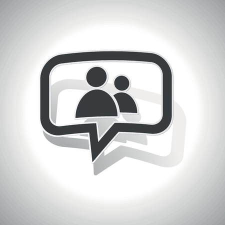 intercourse: Curved chat bubble with two user icons and shadow, on white