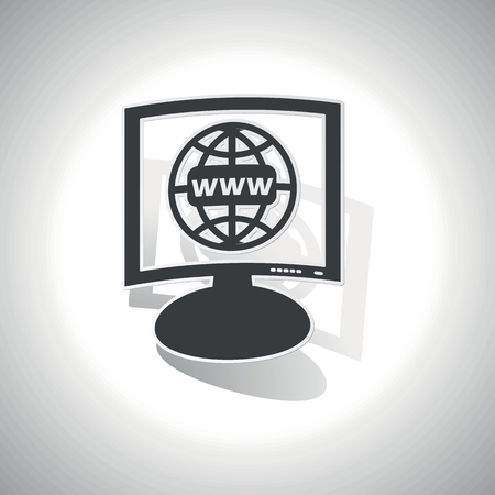 Curved monitor with image of globe and text WWW and shadow, on white